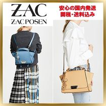 ZAC ZAC POSEN Flower Patterns Calfskin 2WAY Plain Elegant Style Backpacks