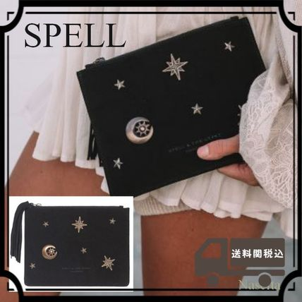 Star Casual Style Tassel Leather Clutches