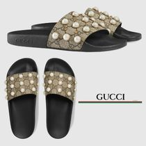GUCCI Monoglam Open Toe Rubber Sole Casual Style Sport Sandals