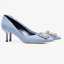 Manolo Blahnik Hangisi Gingham Pin Heels With Jewels Pointed Toe Pumps & Mules