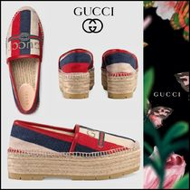 GUCCI Stripes Platform Casual Style Lace-Up Shoes