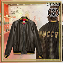 GUCCI Short Star Street Style Leather Biker Jackets