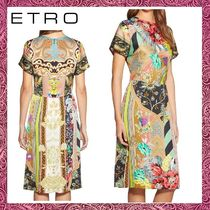 ETRO Crew Neck Flower Patterns A-line Long Short Sleeves