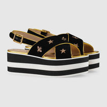 GUCCI Stripes Star Open Toe Platform Casual Style Velvet