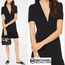 Michael Kors Flared V-Neck Plain Short Sleeves Elegant Style Dresses