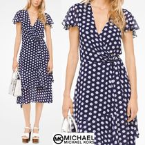Michael Kors Wrap Dresses Dots V-Neck Short Sleeves Elegant Style Dresses