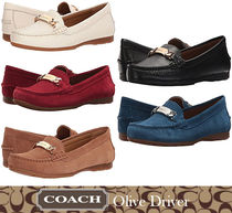 Coach Plain Toe Moccasin Rubber Sole Chain Plain Leather