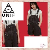 UNIF Clothing Short Dungarees Casual Style Street Style Plain Cotton