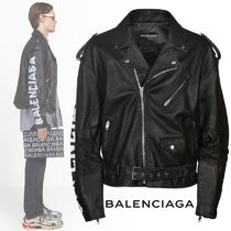 BALENCIAGA Short Plain Leather Biker Jackets