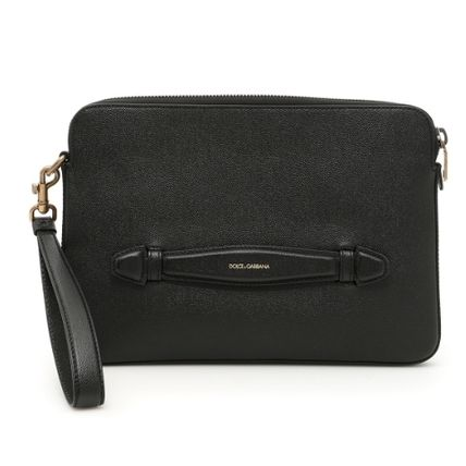 Bag in Bag Plain Leather Clutches