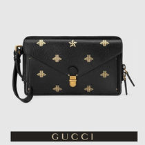 GUCCI Star Blended Fabrics Other Animal Patterns Leather Clutches