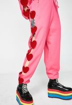 LAZY OAF Heart Street Style Cotton Long Party Style Pants