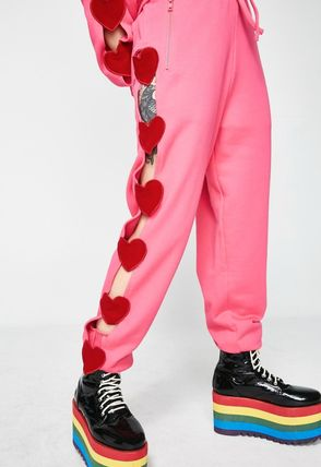 Heart Street Style Cotton Long Party Style Pants