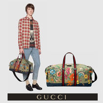 GUCCI Flower Patterns Canvas Street Style A4 Python Boston Bags