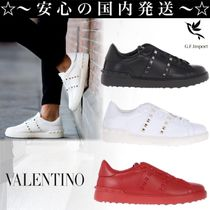 VALENTINO Studded Street Style Plain Leather U Tips Sneakers