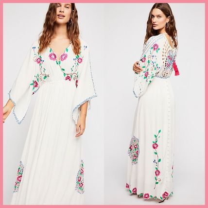 Flower Patterns Casual Style Maxi V-Neck Long Puff Sleeves
