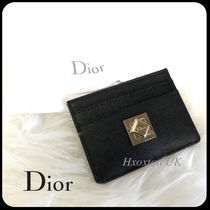 Christian Dior Plain Leather Card Holders