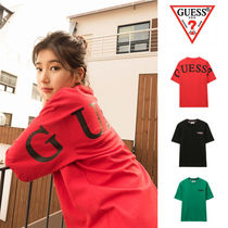 Guess Unisex Street Style Cotton Short Sleeves Oversized T-Shirts
