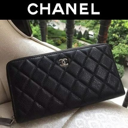 3450ecc307666a ... CHANEL Long Wallets A50097 CLASSIC CHANEL BLK CAVIAR LEATHER QUILTED ZIP  AROUND ...