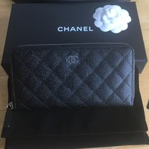 CHANEL A50097 CLASSIC CHANEL BLK CAVIAR LEATHER QUILTED ZIP AROUND
