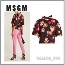 MSGM Flower Patterns Casual Style Puffed Sleeves Cotton Medium