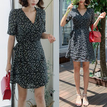 Wrap Dresses Flower Patterns Casual Style V-Neck Medium