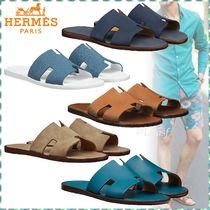 10c57c88b9f2 HERMES Blended Fabrics Street Style Bi-color Plain Leather Sandals