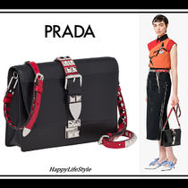 PRADA ELEKTRA Studded 2WAY Leather Elegant Style Shoulder Bags