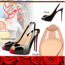 Christian Louboutin Open Toe Leather Pin Heels Elegant Style