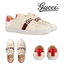 GUCCI Ace Stripes Round Toe Rubber Sole Casual Style Leather