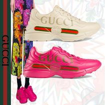 GUCCI Rubber Sole Leather Low-Top Sneakers