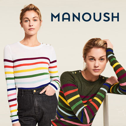 Crew Neck Stripes Casual Style Wool Street Style