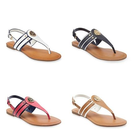 ec3ea1f31a81 Tommy Hilfiger. Open Toe Casual Style Plain Leather Footbed Sandals  2018 SS