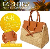 Blended Fabrics Tassel A4 Straw Bags