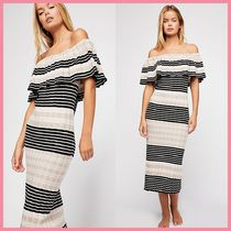 Free People Stripes Casual Style Tight Cotton Medium Dresses