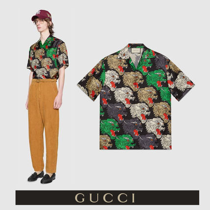 662f93f7 ... GUCCI Shirts Button-down Silk Other Animal Patterns Short Sleeves Shirts  ...