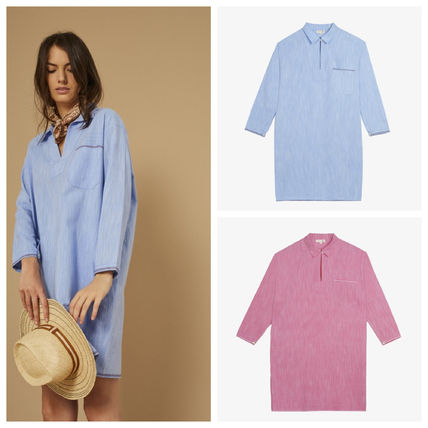 Casual Style Cropped Plain Cotton Dresses
