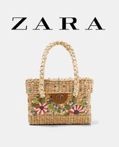 ZARA Flower Patterns Casual Style Straw Bags
