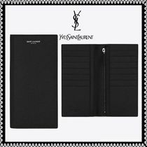 Saint Laurent Calfskin Plain Folding Wallet Long Wallets