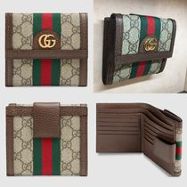 GUCCI Ophidia Monogram Leather Folding Wallets