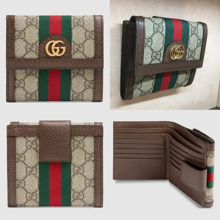best service 1a01a 9e9f6 GUCCI Ophidia 2019 SS Monogram Leather Folding Wallets (523173 96IWG 8745)