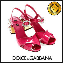 Dolce & Gabbana Plain Leather With Jewels Chunky Heels Heeled Sandals