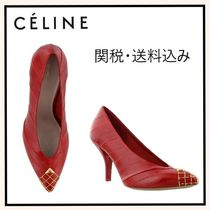 CELINE Leather Pin Heels Elegant Style Pointed Toe Pumps & Mules