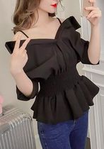 Casual Style Plain Off the Shoulder