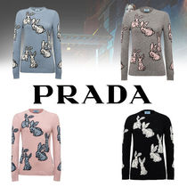 PRADA Cable Knit Casual Style Wool Street Style Boat Neck