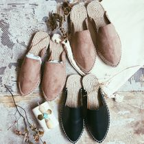 Casual Style Suede Plain Flat Sandals