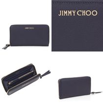 Jimmy Choo Unisex Plain Leather Handmade Long Wallets