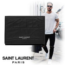 Saint Laurent Street Style Plain Other Animal Patterns Leather Coin Cases