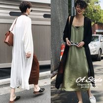 Casual Style Silk Long Sleeves Plain Long Gowns Oversized