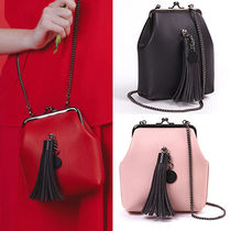SAMO ONDOH Faux Fur Tassel 3WAY Chain Plain Elegant Style Shoulder Bags